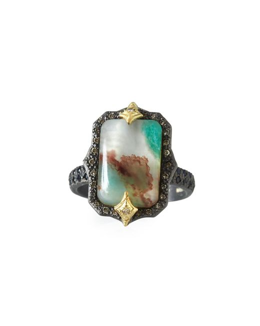 Armenta - Green Old World Aquaprasetm Emerald-shaped Cabochon Ring With Diamonds - Lyst