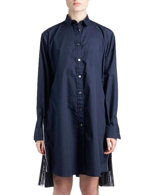 Sacai - Blue Long-sleeve Button-down Poplin Shirtdress W/ Pleated Sides - Lyst