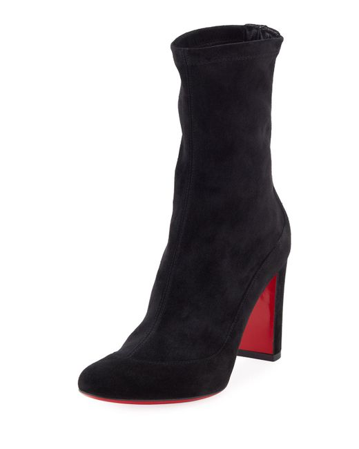 Christian Louboutin | Black Gena Stretch Suede Midi Boot | Lyst