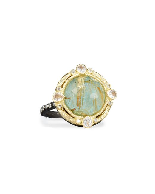 Armenta - Metallic Old World Midnight Turquoise & Quartz Doublet Ring With Diamonds - Lyst