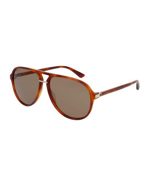 Gucci   Brown Translucent Acetate Aviator Sunglasses   Lyst