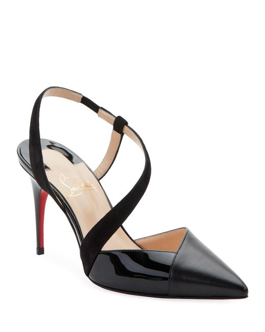 Christian Louboutin Black Platina Mixed Red Sole Pumps