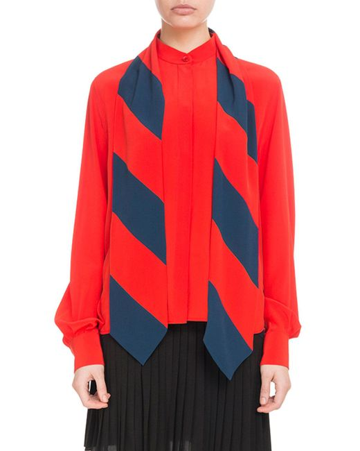 Givenchy - Red Detachable Scarf Shirt - Lyst