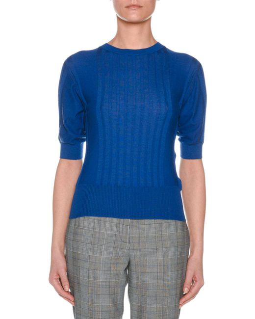Agnona - Blue Crewneck Short-sleeve Superfine Cashmere Sweater - Lyst