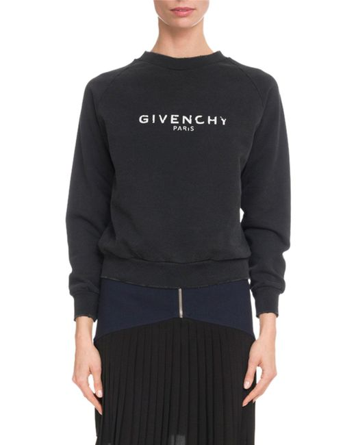 Givenchy - Black Long-sleeve Crewneck Distressed Cotton Sweatshirt - Lyst