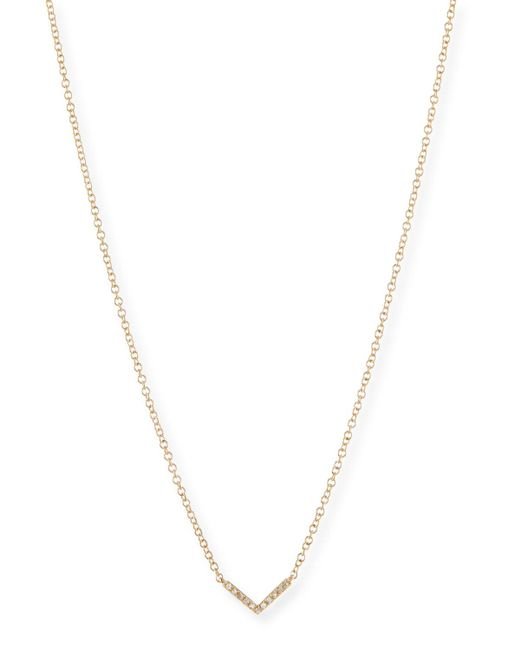 EF Collection - Metallic Mini Diamond Chevron Pendant Necklace - Lyst