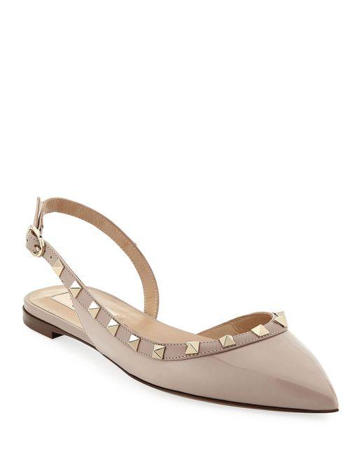79bbe5e24c61 Valentino - Natural Vernice Rockstud Slingback Ballet Flats - Lyst ...