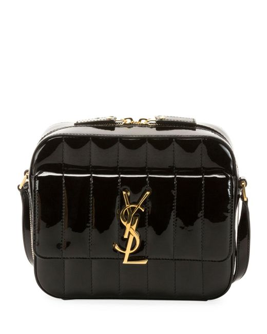 Saint Laurent - Black Vicky Medium Ysl Monogram Quilted Patent Camera Bag -  Lyst d57ab2569de18