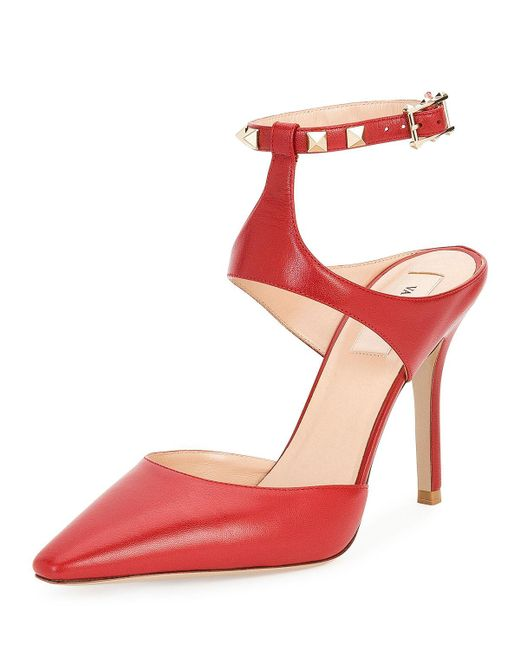 Valentino | Red Rockstud Leather Ankle-strap Pump | Lyst