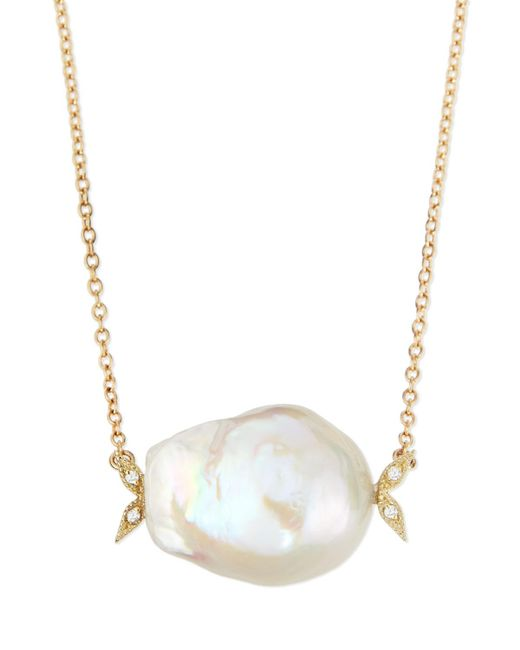 Mizuki   14k Gold Diamond Leaf & White Pearl Necklace   Lyst