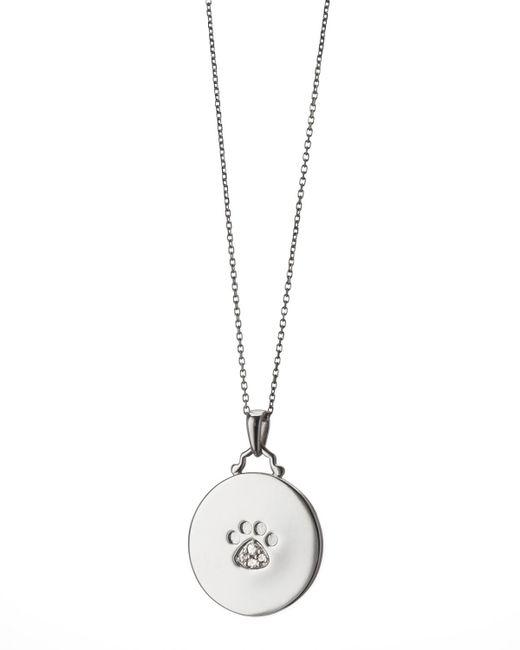 Monica Rich Kosann - Metallic White Sapphire Paw Print Charm Necklace - Lyst