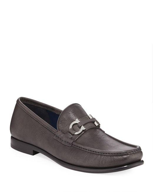 Ferragamo Gray Men's Crown Gancio-bit Leather Loafers for men