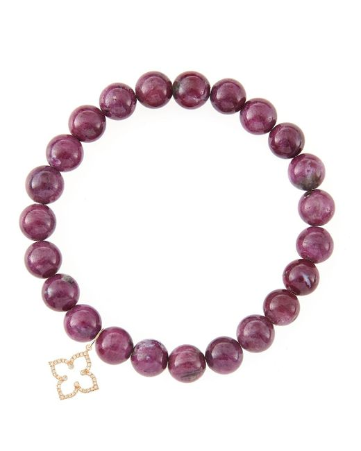 Sydney Evan | Red 8Mm Natural Ruby Beaded Bracelet With 14K Gold/Diamond Small Moroccan Flower Charm (Made To Order) | Lyst