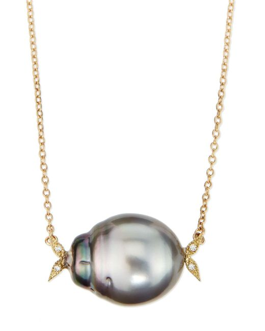 Mizuki | Metallic 14k Gold Diamond Leaf & Black Tahitian Pearl Necklace | Lyst
