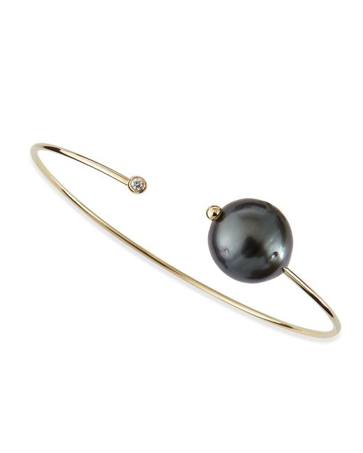 Mizuki | Metallic 14k Gold Cuff With Black Tahitian Pearl And Single Diamond Caps | Lyst