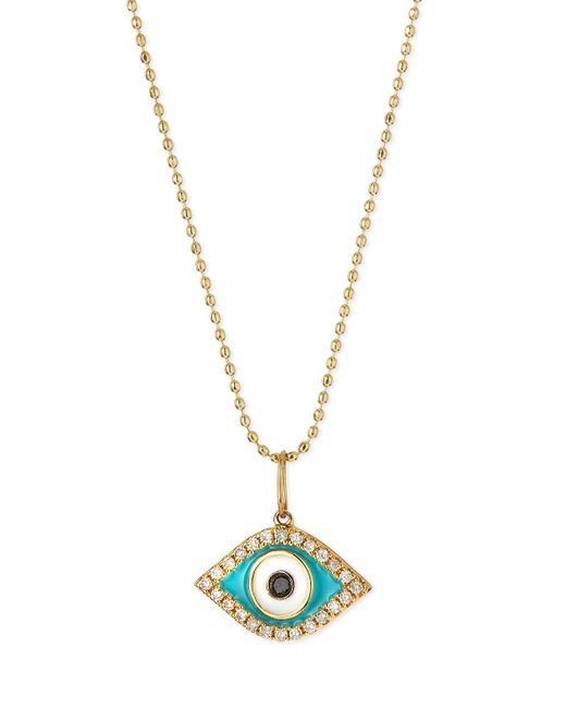 Sydney Evan | Metallic 14k Diamond Evil Eye Pendant Necklace | Lyst