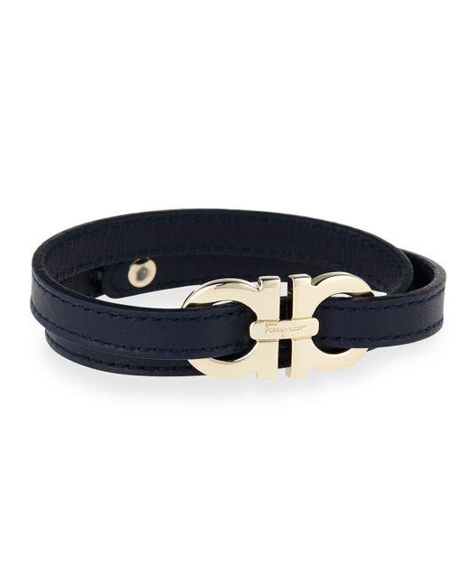 Ferragamo | Blue Men's Gancini Leather Wrap Bracelet for Men | Lyst