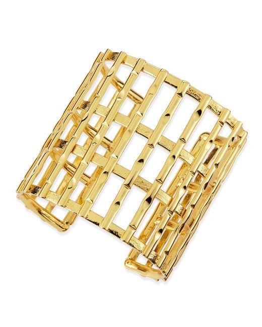 Nest | Metallic Gold Plated Bamboo Lattice Cuff | Lyst