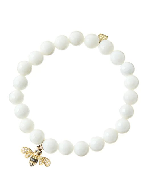 Sydney Evan | 8mm Faceted White Agate Beaded Bracelet With 14k Gold/diamond Bee Charm (made To Order) | Lyst