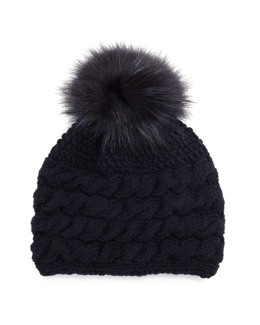 Inverni | Gray Cashmere Cable-knit Beanie Hat W/fur Pom Pom | Lyst