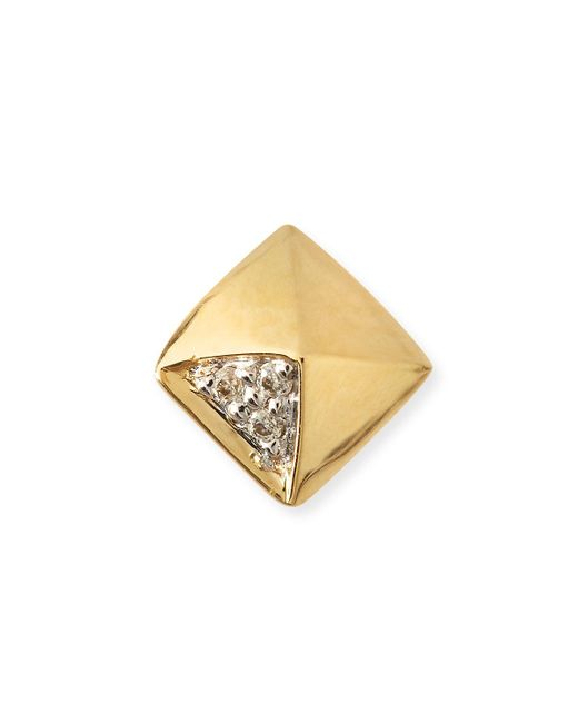 Sydney Evan | Metallic Gold & Diamond Pyramid Single Stud Earring | Lyst