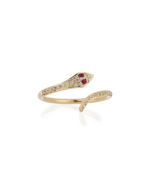 EF Collection | Metallic 14k Gold Diamond Snake Ring | Lyst
