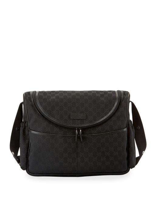 gucci gg canvas leather trim diaper bag in brown lyst. Black Bedroom Furniture Sets. Home Design Ideas