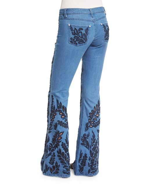 Alice  Olivia Ryley Embroidered Flare Jeans In Blue