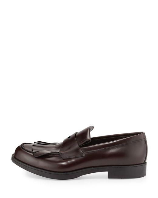 Prada Kiltie Leather Penny Loafer W Fringe In Black For