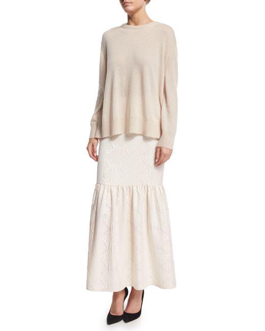 the row textured cloque peplum maxi skirt in white ivory