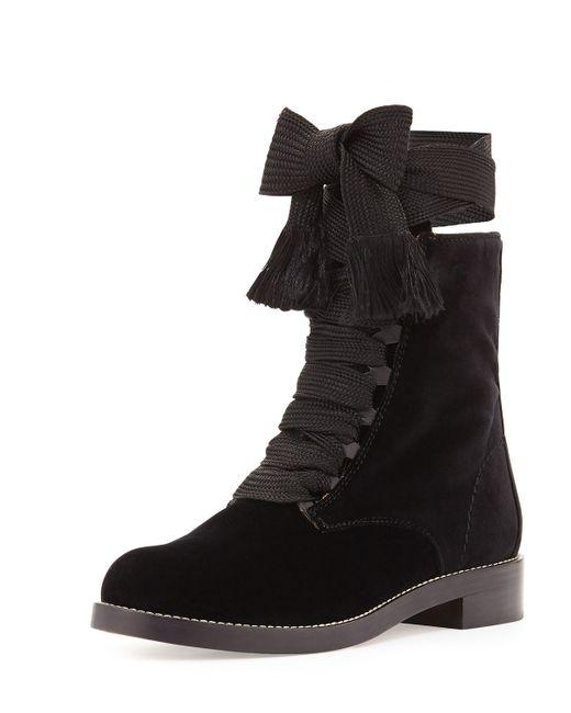 Chloé | Black Suede Bolo-tie Fur-cuff Ankle Boot | Lyst