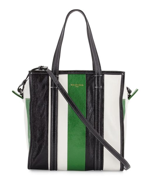 Balenciaga | Green Bazar Small Striped Leather Shopper Tote Bag | Lyst
