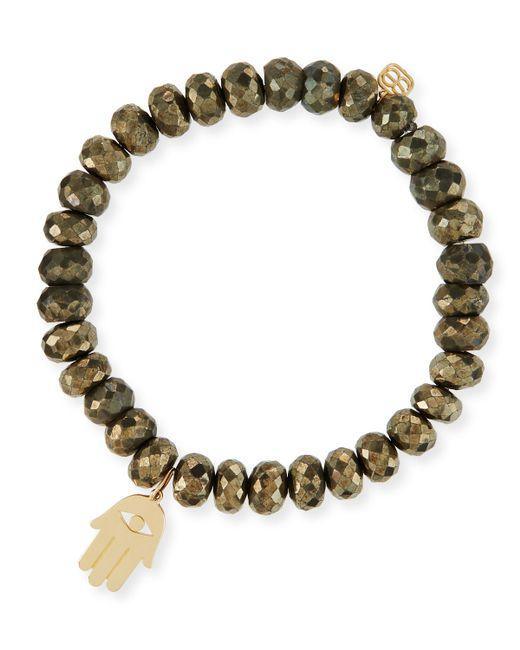 Sydney Evan | Metallic 8mm Champagne Pyrite Beaded Bracelet With 14k Hamsa Charm | Lyst