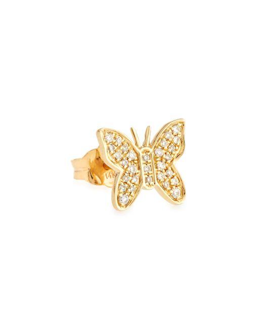 Sydney Evan | Metallic Butterfly Diamond & 14k Yellow Gold Single Stud Earring | Lyst