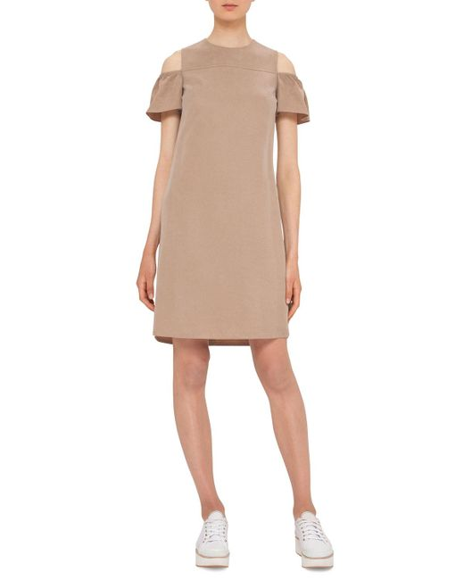 Akris Punto | Natural Ruffled Cold-shoulder Shift Dress | Lyst