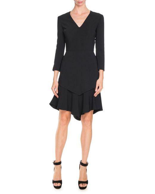 Givenchy | Black 3/4-sleeve Asymmetric Double-layer Dress | Lyst
