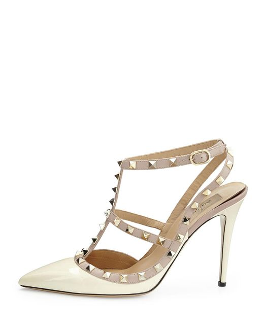 Valentino | Black Rockstud Patent-Leather Sandals | Lyst