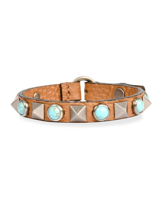 Valentino | Black Rockstud Rolling Leather Bracelet | Lyst