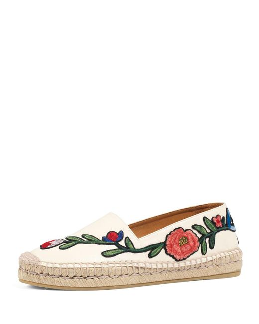 Gucci Pilar Embroidered Espadrille Flat in White | Lyst