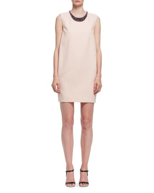 Lanvin | Pink Beaded-neck Sleeveless Shift Dress | Lyst