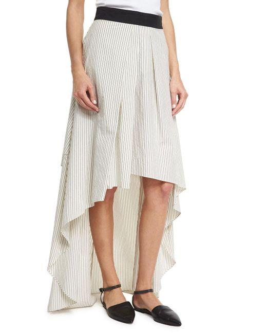 Brunello Cucinelli | Multicolor Striped High-low Maxi Skirt | Lyst