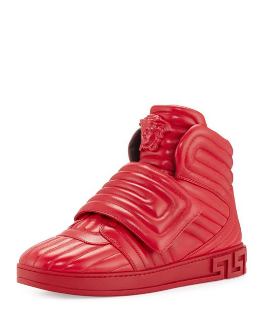 Versace Aros Men's Quilted Leather High-top Sneaker in Red ...