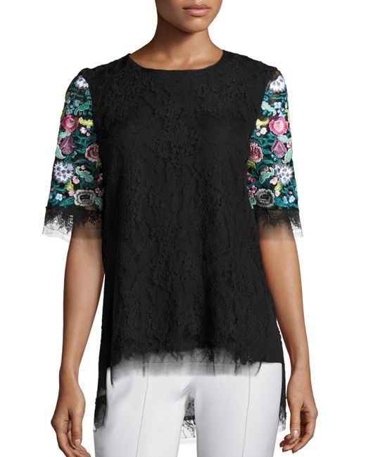 Adam lippes floral embroidered lace t shirt in black lyst for Adam lippes t shirt