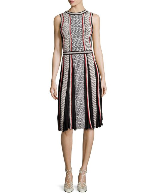 Oscar de la Renta | Black Sleeveless Tweed-print Day Dress | Lyst