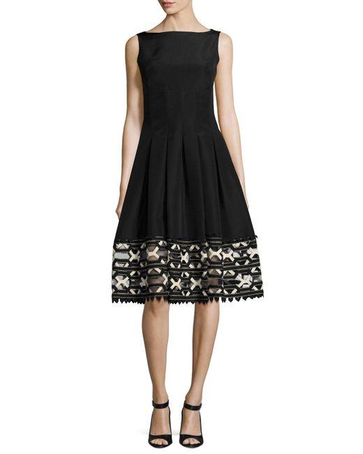 Lela Rose   Black Ribbon-embroidered Sleeveless Boat-neck Dress   Lyst