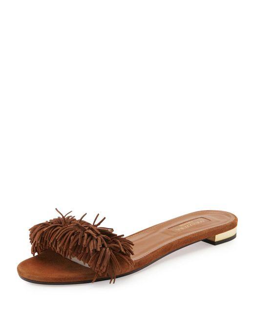 Aquazzura | Brown Wild Thing Suede Flat Slide Sandal | Lyst