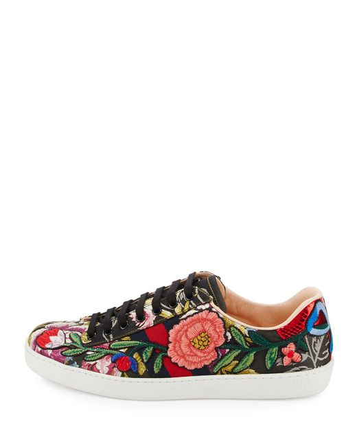 Gucci New Ace Men S Floral Leather Low Top Sneaker For Men