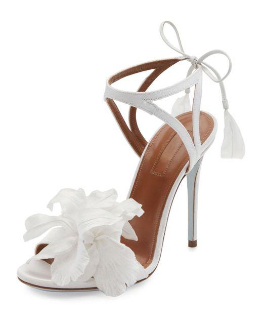Aquazzura   White Floral Satin Bridal 105mm Sandal   Lyst