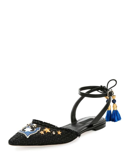 Dolce & Gabbana   Black Anchor-embellished Raffia Ankle-wrap Flat   Lyst