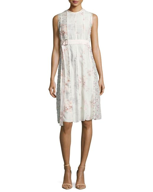 Calvin Klein | Pink Sleeveless Watercolor Floral Dress | Lyst